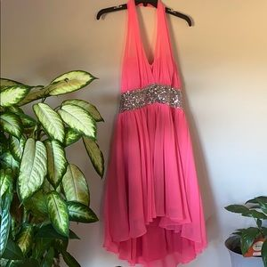 Short pink halter top dress with silver sequence